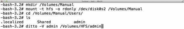 In this example I attached an external drive named 'HFS'.