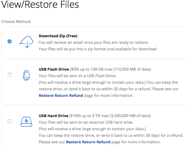 Backblaze Restore Options