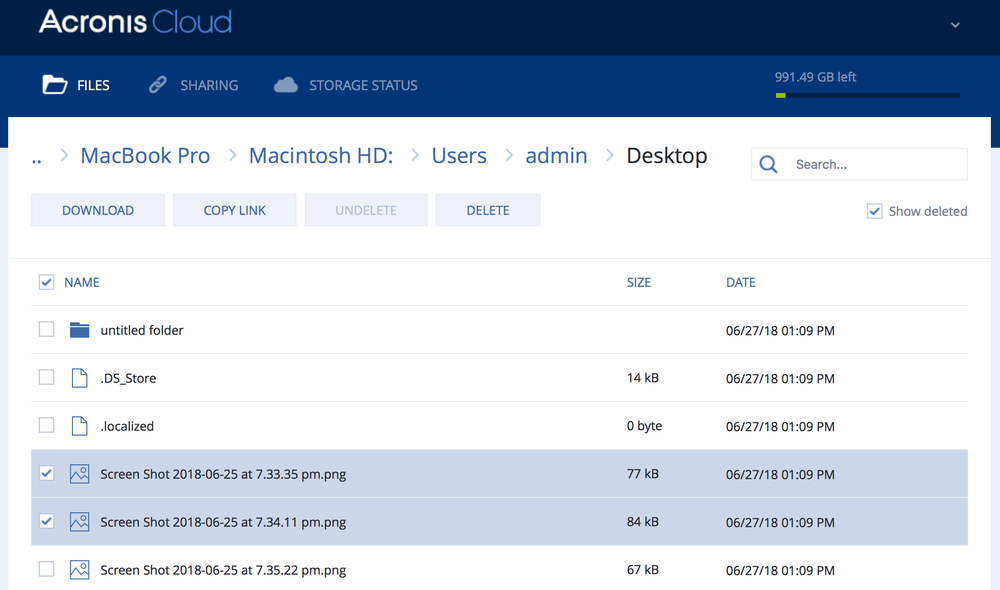 Acronis Online Dashboard