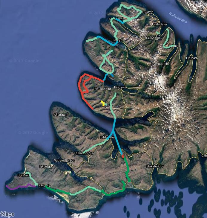 Blue lines are water crossings by kayaks or rescue service boat. The rest are walking routes.