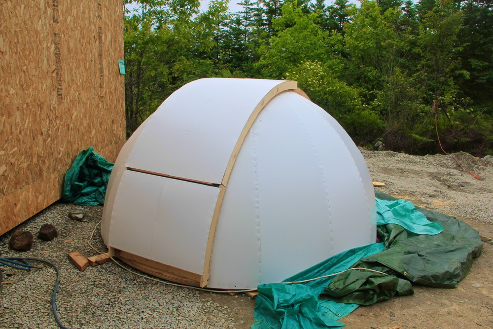 Nearly complete dome with working shutters.  Still needs a bit of paint to hide the wood and the metal finishing.