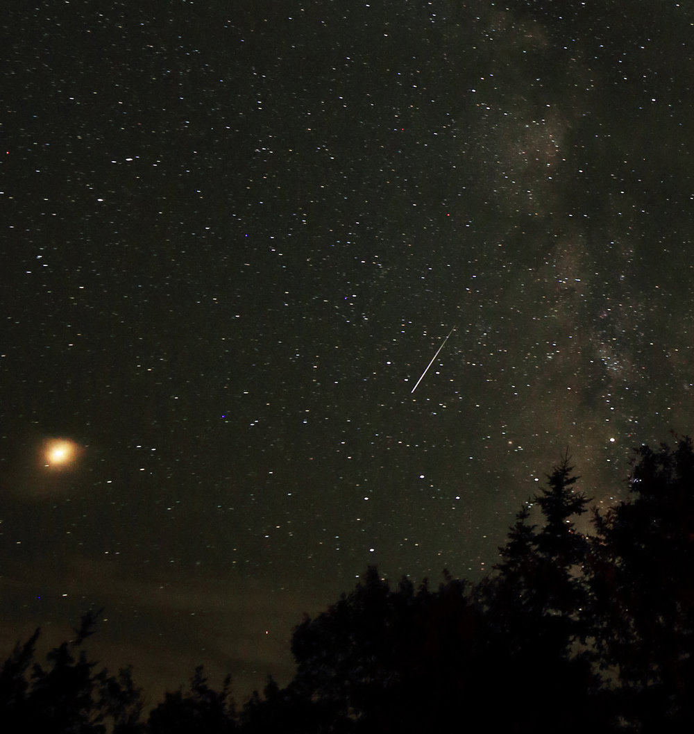 Delta Aquariid meteor taken at Deep Sky Eye site, with Mars at left