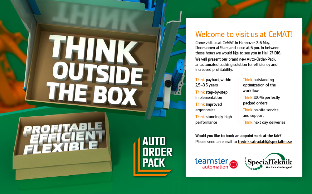 Think outside the box – ett kommunikationskoncept för en produkt: SpecialTekniks Auto Order Pack. Konceptet introducerades på CEMAT-mässan och förklarar konceptet i såväl monter som broschyr och annat kommunikationsmaterial.