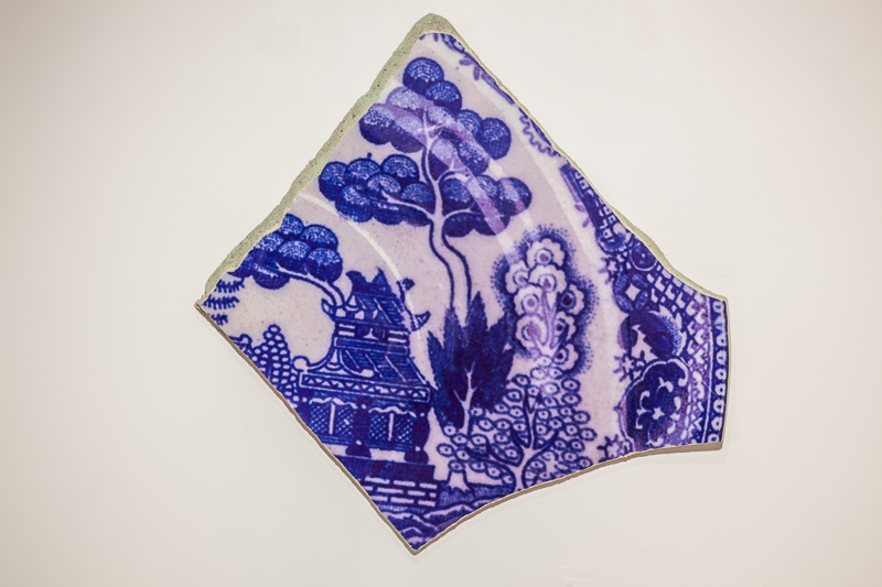 Shard  Oriental Blue Willow pattern, 2009 photo, mixed media, 67 x 70 x 3 cm,  2009