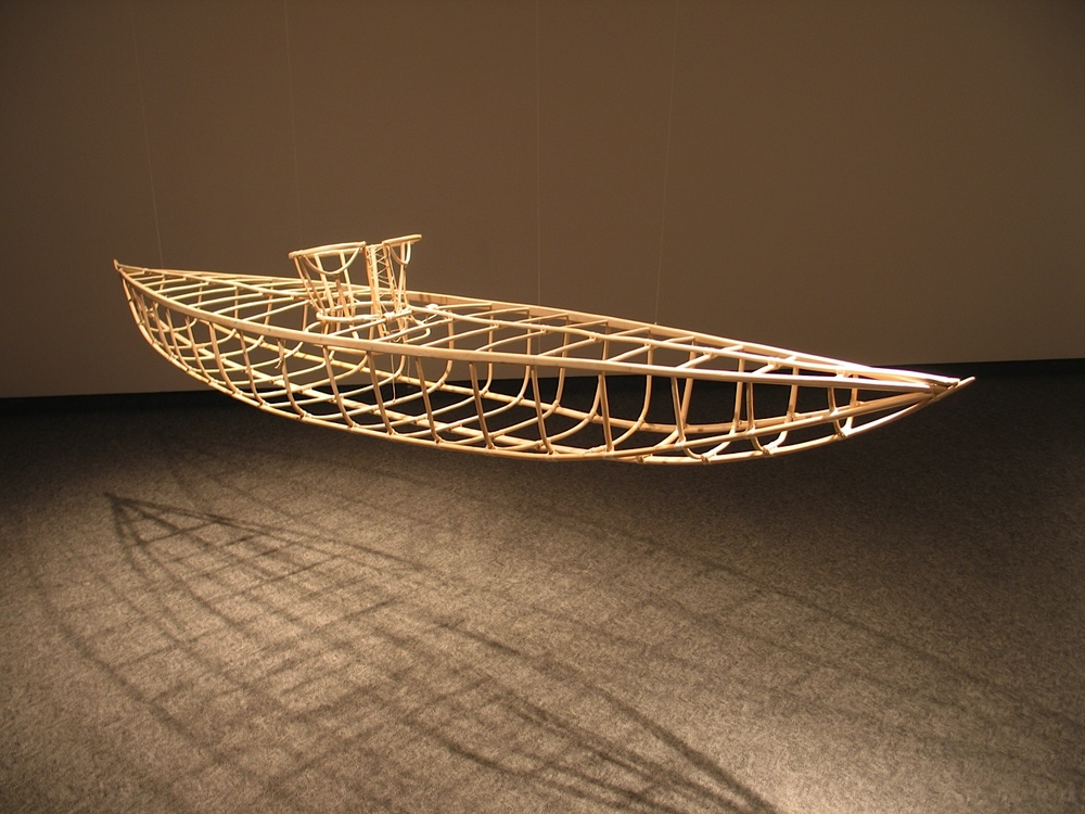Corset-Kayak , 2000 Driftwood cedar, bent willow spring shoots, linen strings, 127.5 x 305 x 52.5 cm (installed)