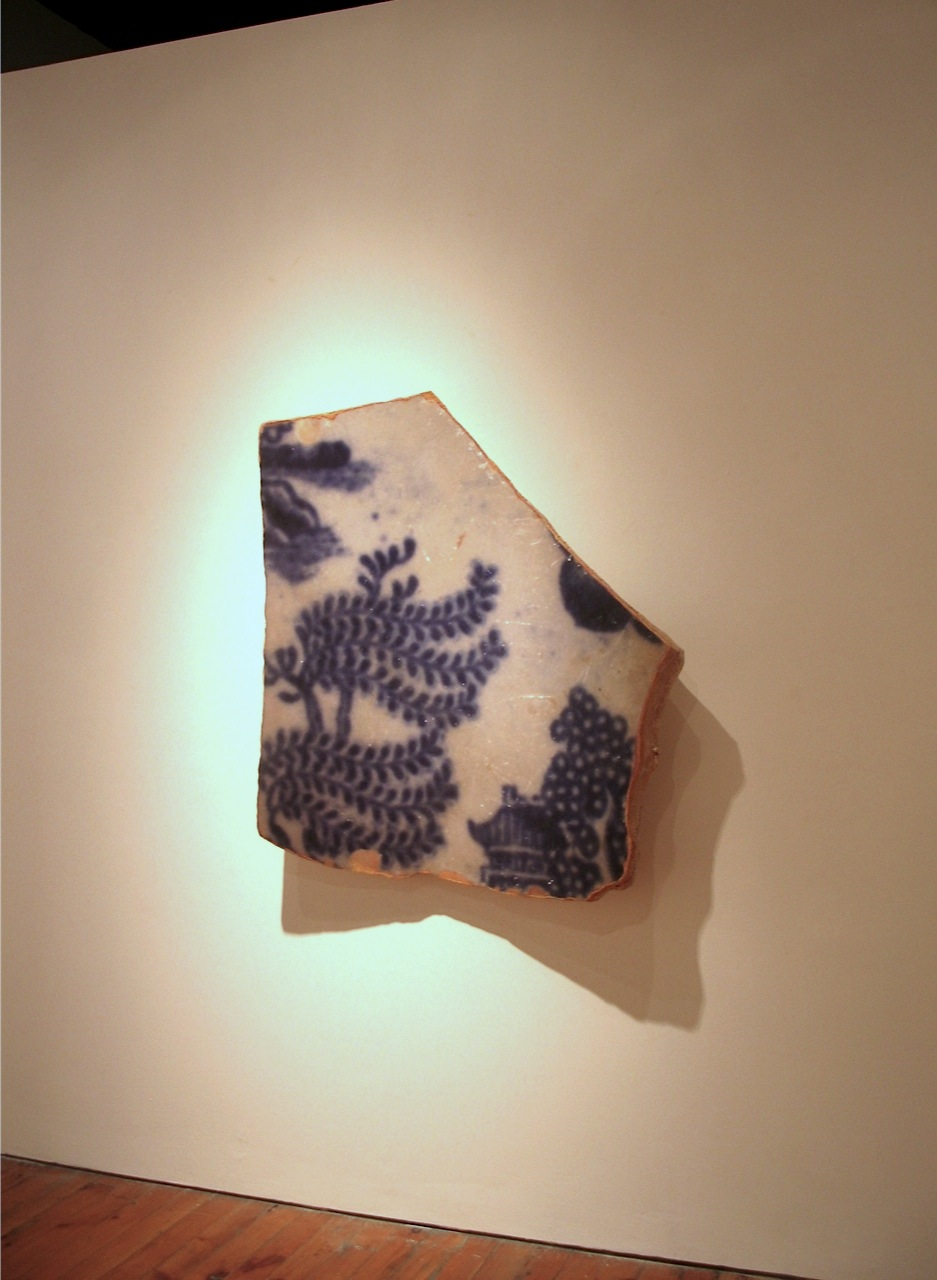 Shard  Oriental Blue Willow pattern, photo, mixed media   110 x 110 x 25 cm,  2011