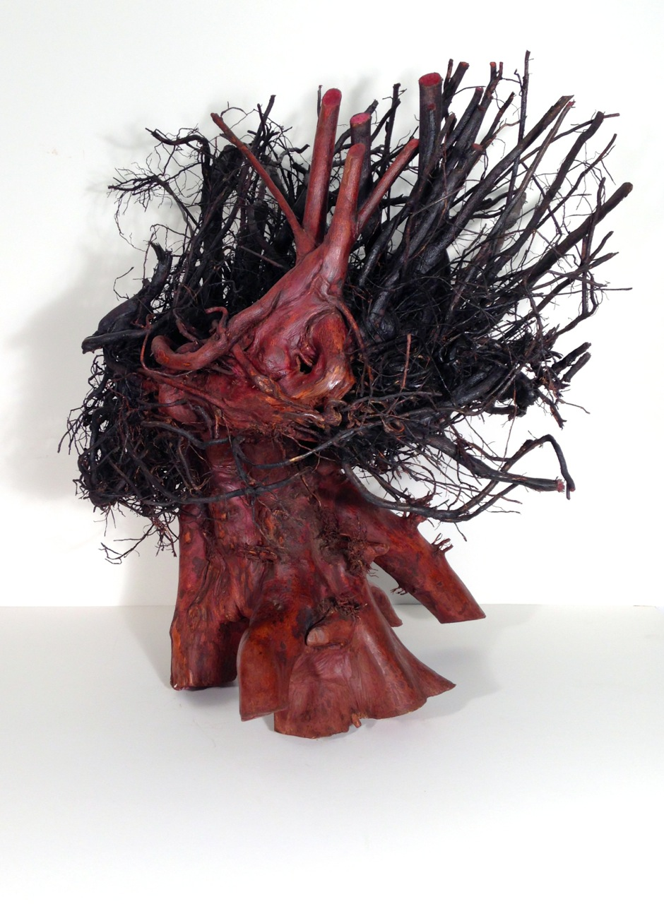Black Madonna  tree root, wood stains, 28 x 28 x 24 inches