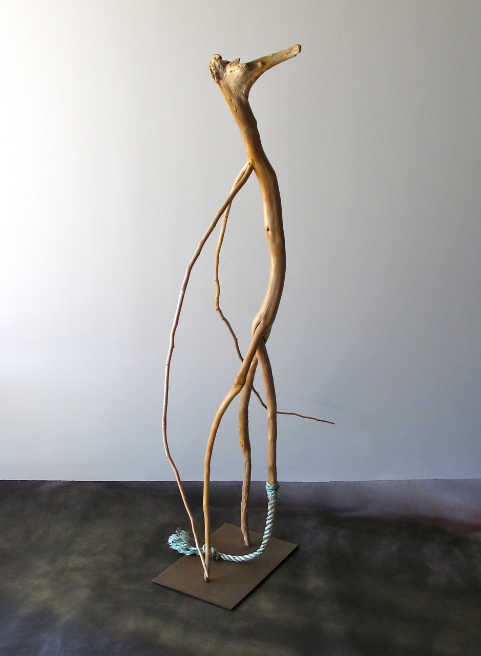 SALLY THURLOW,  Tail Between Legs,  2008-10 Lake Ontario driftwood, 148 x 90 x 70 cm
