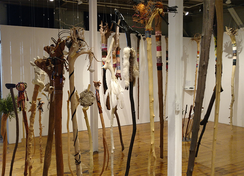 Wander In The Elements , 2017 - 2018 Multi-media with various natural animal, vegetable, mineral elements on driftwood Installation view at the Red Head Gallery