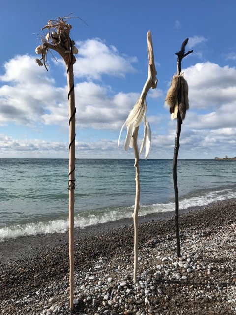 Elements (Detail) , 2017 - 2018, driftwood, natural elements - feathers, fur, bone, metals, plant materials etc., wood stain