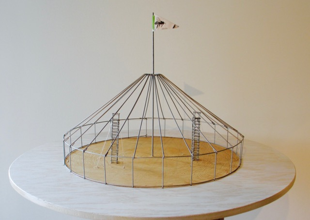 Circus Tent High Wire Act - Science and Nature  Wood, steel, silk, mixed media 14 inches diameter