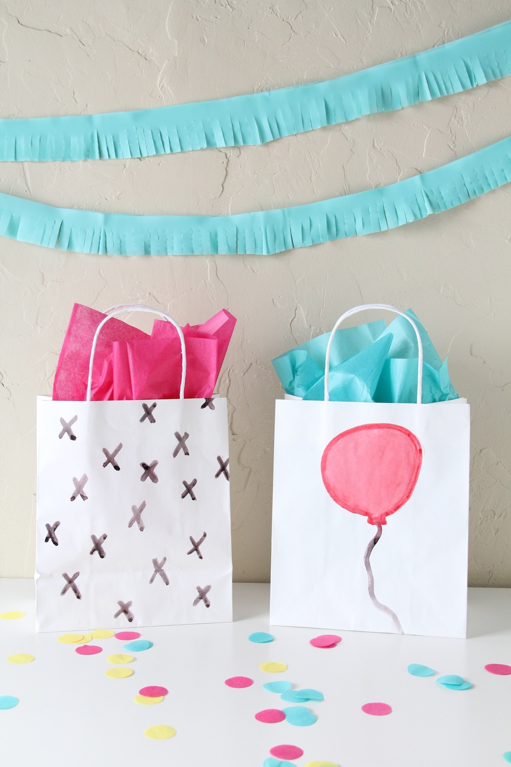 DIY watercolor gift bags