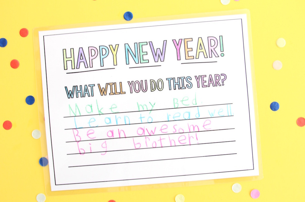 New Year's resolution placemats printable for kids!