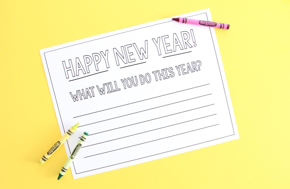Printable new years resolutions placemat for kids!