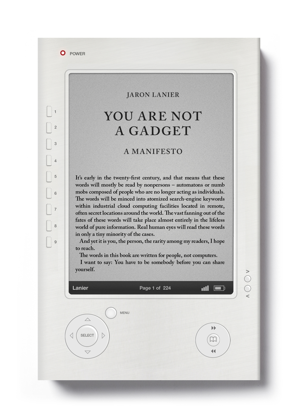 You Are Not A Gadget by Jaron Lanier - Art Direction: Jim Stoddart Design: Olly Moss