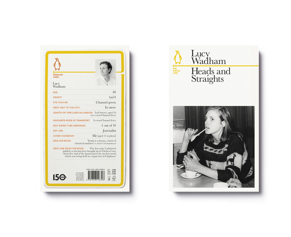 Penguin Lines — Heads and Straights by Lucy Wadham (with back cover detail) -  Art Direction & Design: Jim Stoddart