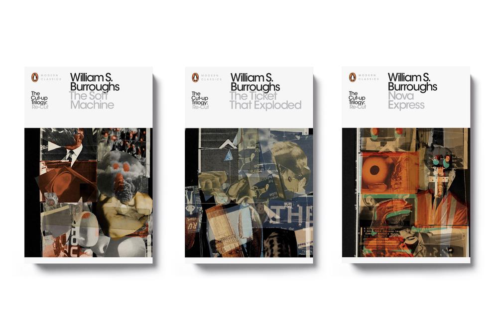 Penguin Modern Classics William Burroughs 'Cut-up' Trilogy - Design: Jim Stoddart Illustration: Julian House at Intro
