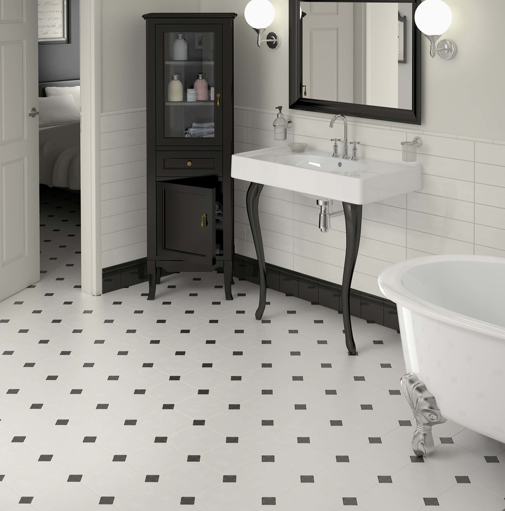 White octagonal floor tiles with black 'dot' inserts