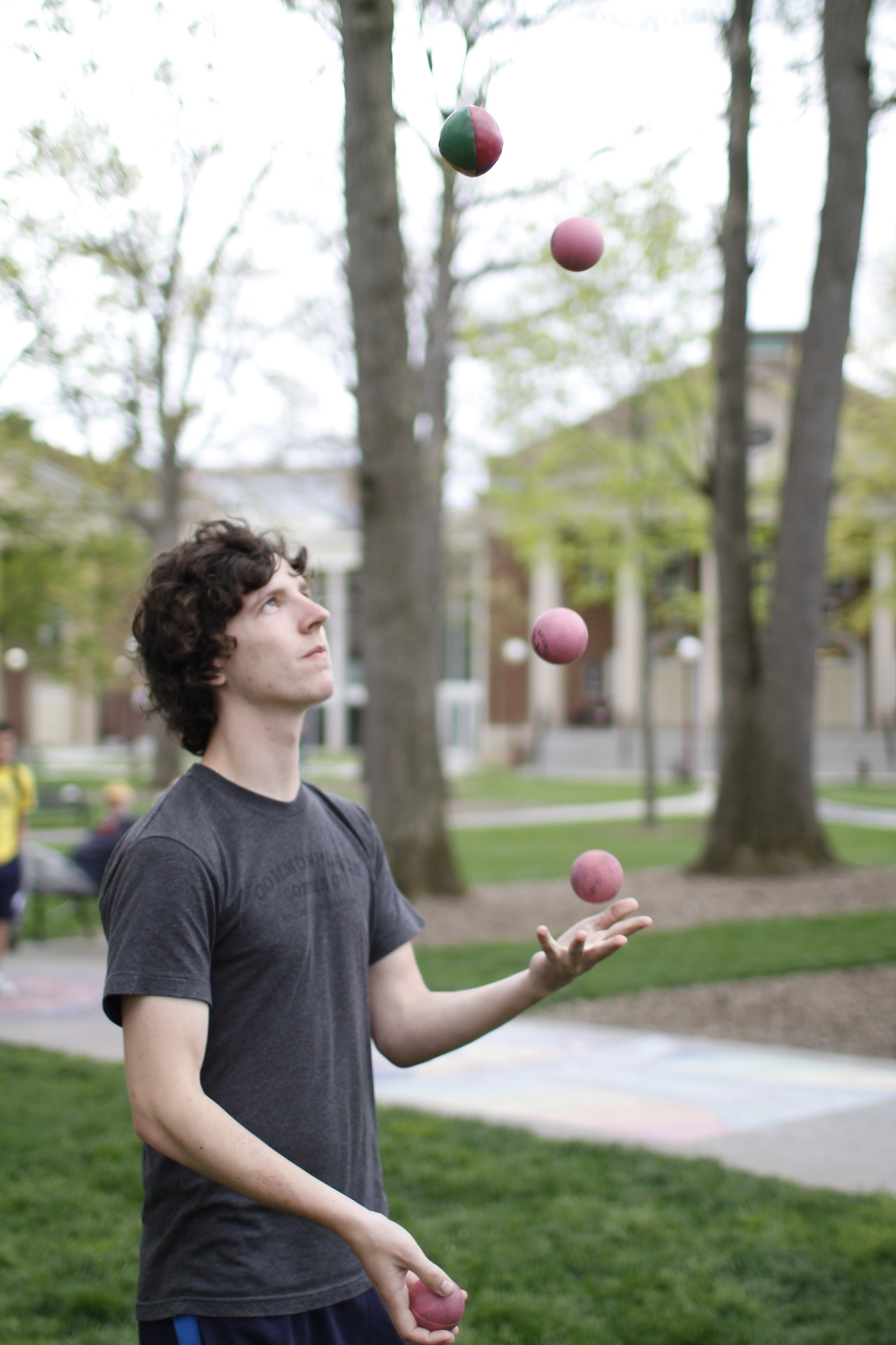 Jesse Christe is a freshman at Indiana University of Pennsylvania, and also juggles competitively. He practiced today with four balls and a bean bag.