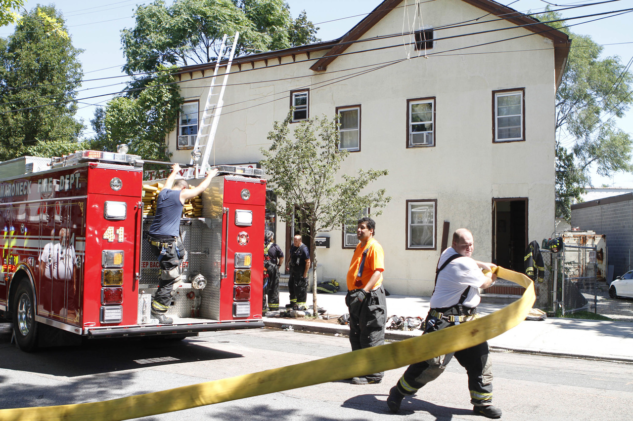 Firefighters responded in minutes to 665 Old White Plains Ave in Mamaroneck on Tuesday, July 30, and had the blaze under control in 15, according to Fire Chief Robert Pecchia. (Dave Gershgorn/ The Journal News)