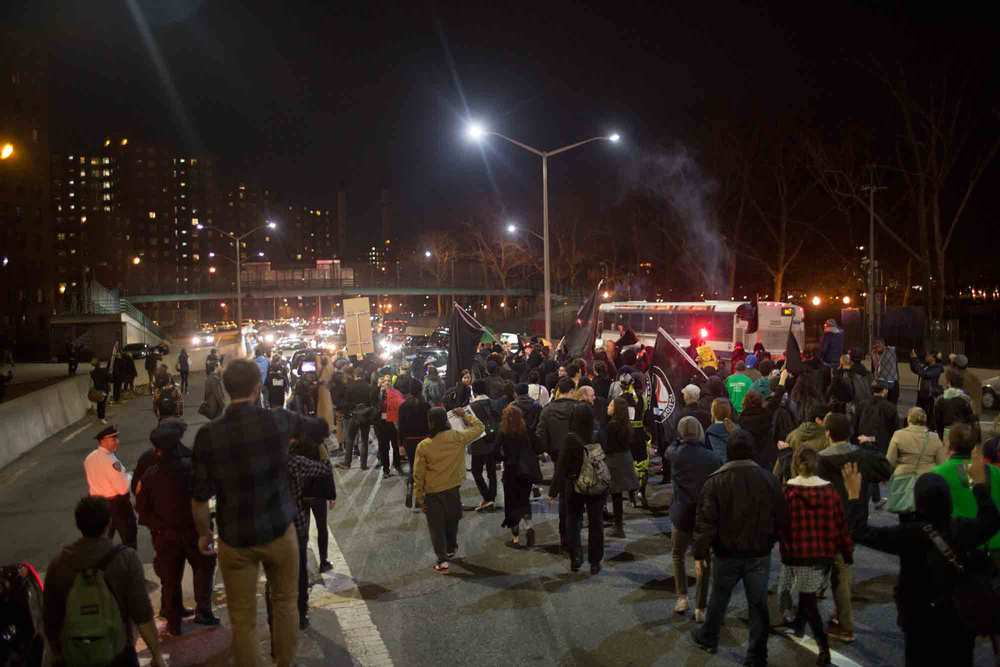 Protestors blocked the East Side Highway in New York City Tuesday night, in protest of the Ferguson Grand Jury decision to not indict Darren Wilson.