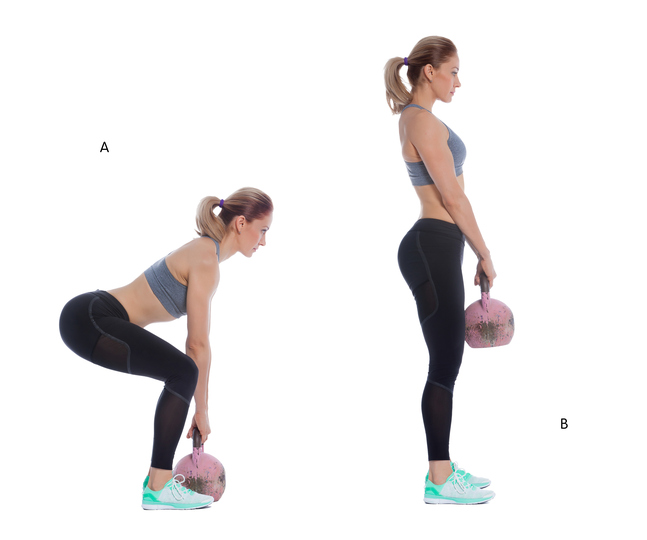 exercise 1 Draw hips back to feel a stretch in your hamstrings and activate glute muscles, flaten back, tighten abs, drwaw shoulder blades down,activating lats, opening chest, squeeze glutes and tightening abs as you bring hips forward, standing up right straightening legs.