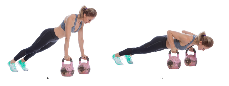 keep hips in line with shoulders, tighten abs, feet hip width apart kettle bells shoulder with apart, tuck elbows close to sides of body as you lower down,keeping neck ELONGATED,  push in pad of hands against handle of kettle bell, tighten abs to keep in form as you press up