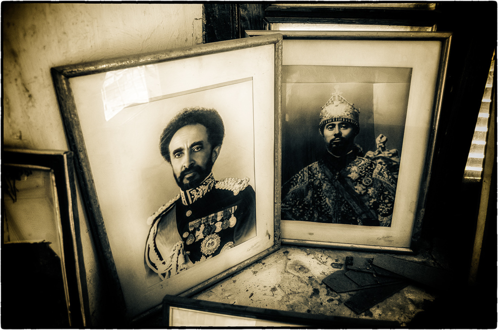 Photographs of Haile Selassie + Menelik II in the Abdela Sherif Museum - Harare