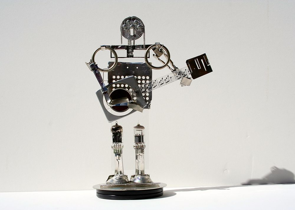 Guitarist Bot - 10 inch - mixed media
