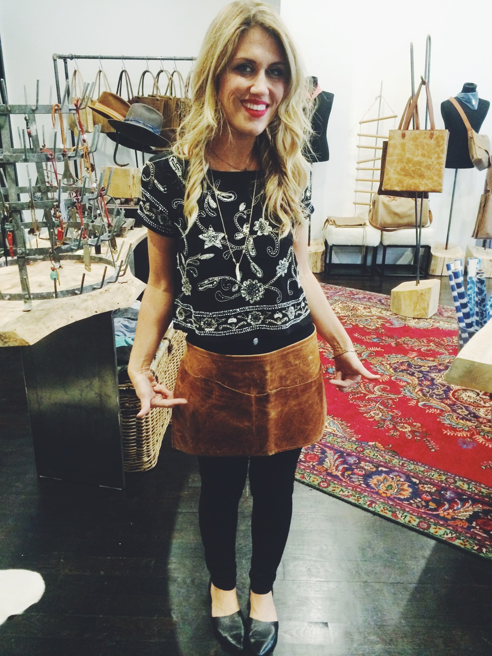 Cheryl from Stash Co let me sport this rad apron on the Local Gifts Great Day segment. I'm obsessed!