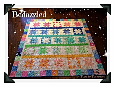 Get this pattern for the  BEDAZZLED QUILT   made with Hubba Hubba Fat Quarters from Cindy Sharp. It's  free at the Moda Bake Shop!