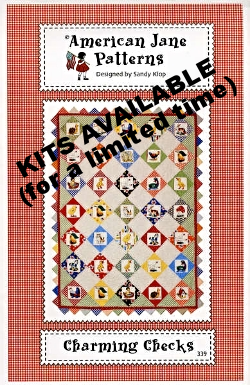 This one is my favorite so far, Charming Checks. Its made with Ducks in a Row Charm Pack and yardage.  It's a nice size- about 40 x 53. I think this will make a great kit quilt  - Kits?....Yes! Click HERE to get yours! I will be making up a sample quilt too! I'd like to say I am making the sample for you all to see this quilt made up..... which is a true story, BUT I really wanna make this quilt because it's so darn cute!