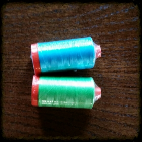TWO  delicious   AURIFIL BIG SPOOLS  of 50 wt. MAKO cotton thread in the most pleasing Row by Row themed colors. Woop!   #5005 Medium Turquoise AND #6737