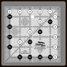 "A quilter needs good tools and we are here to deliver!  Your prize bundle includes this nifty 5 1/2"" square from Creative Grids - the perfect tool for this Frivol, whose unfinished blocks are 5 1/2"" ! How fitting."
