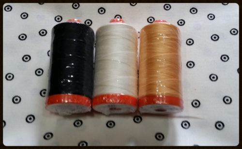 This prize bundle includes THREE Aurifil Big Spools in colors that go so well with the Sew Scary fabrics!