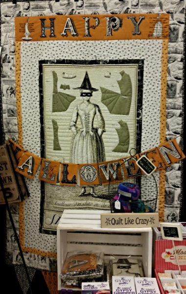 J. Wecker Frisch's Sew Scary Quilt hanging in our show booth.
