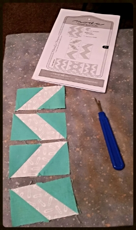 BLOCK 21 TIP:  THE SMALLER BLOCK UNITS DO HAVE RIGHTS AND LEFTS IN THIS BLOCK . LAY OUT THE PIECES WHILE YOU ARE SEWING THE DIAGONALS TO MAKE SURE YOUR ZIG DOESN'T ZAG......or DO AS I DID AND SEW IT TOGETHER BACKWARDS THEN KEEP YOUR SEAM RIPPER HANDY TO MAKE IT RIGHT AGAIN :)