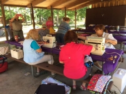 "These volunteers took their sewing skills to the great outdoors for this ""Campground Sew-A-Thon"""