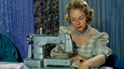 Retro Bliss: A symphony of frosty greens.  Always a good sewing day when your eye shadow matches your sewing machine☺.