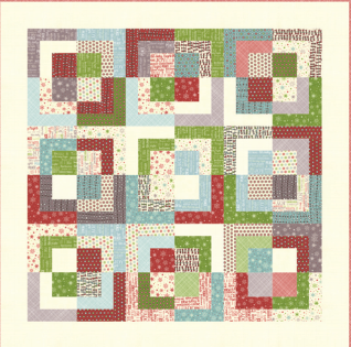 Here's a picture of the quilt you can make with this cute kit that's packed in a decorative tin that matches the fabric inside!
