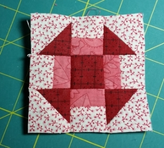 "Stitch together as shown, use 1/4"" seams throughout. Press and square up to 3 1/2"" (unfinished size) if needed. Make 12 Blocks"