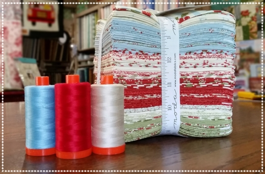 HERE'S THE PRIZE BUNDLE:  FAT QUARTER BUNDLE  OF SNOWFALL FABRICS  BY MINICK & SIMPSON FOR MODA & AURIFIL THREADS
