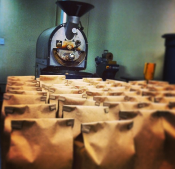 Pounds of Kilowatt and Contester's Blend ready waiting at the Roaster in Lafayette, CO to be shipped to HAMvention.