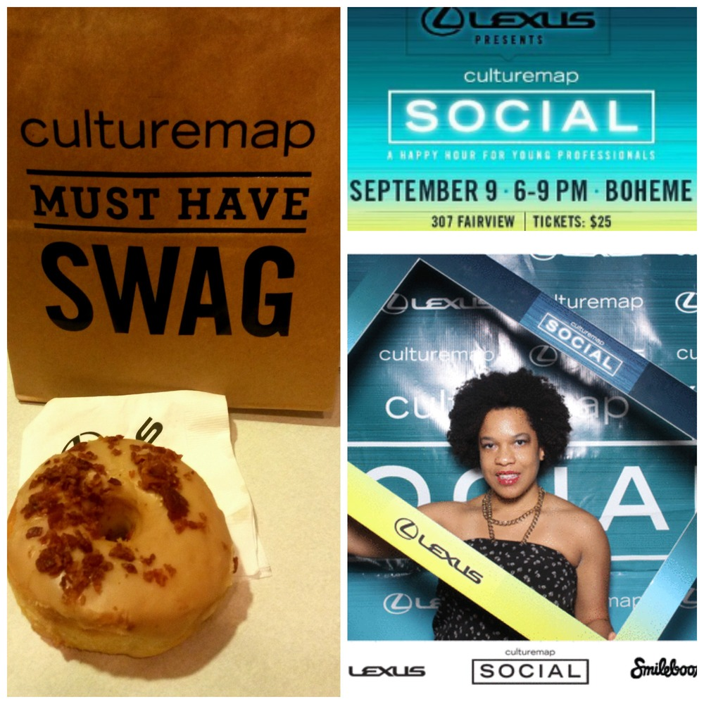 My swag bag and Maple-Glazed Donut with bacon topping from  The Doughnut Cafe . It was really good, and really big, definetly a dessert to share. My pic from the Smile Booth is actually a cute little video that I was able to send directly to our  Twitter page .