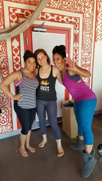 (left to right) Me with the studio owner Ana Thyagaraja and our instructor Connease Warren