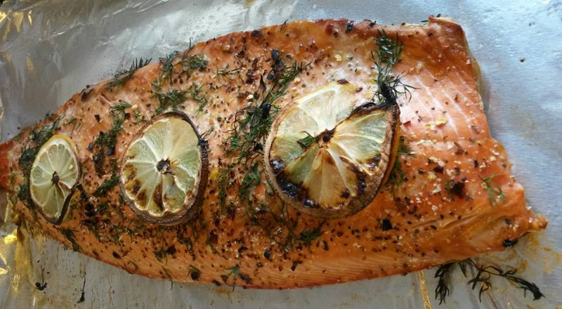 I eat salmon probably 2-3 times a week. This beauty is a wild caught sockeye fillet from Whole Foods that I broiled and topped with fresh dill, pepper, sea salt, red peppers, olive oil and lemon.