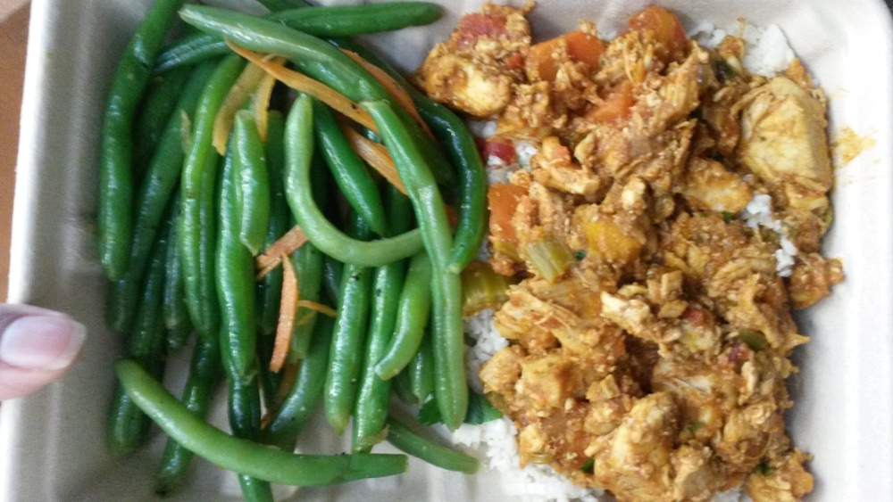 Green beans and cauliflower rice and chicken curry from Whole Foods