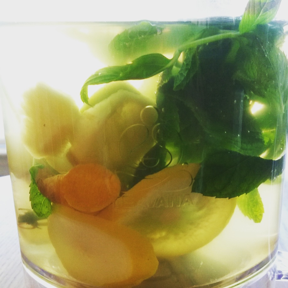 My mix of mint, lemon, turmeric, ginger, and jalapenos.