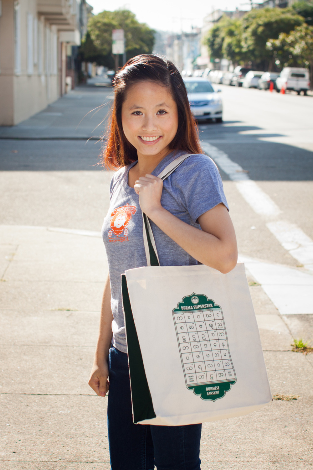 Our new Tote with design printed in green.