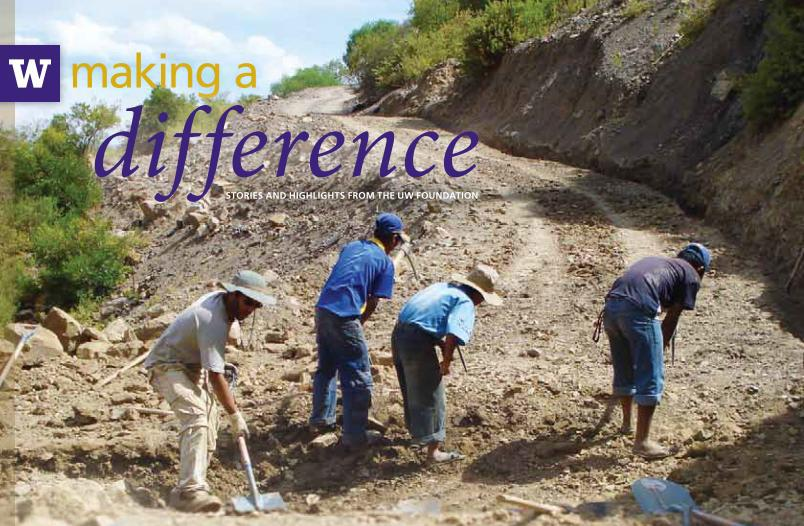 A photo of us working on the road in Bolivia in 2008, probably taken by Jeff Walters. The text is the addition of the University of Washington Columns magazine which profiled our work. (I'm on the left, ineffectually using a shovel and trying to keep up with far older Bolivians.)